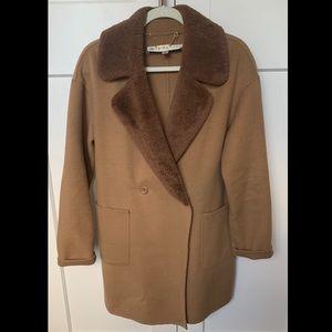 Trina Turk Dawn Shearling Collar Coat